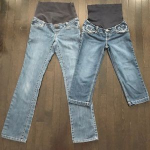 2 pairs XS Thyme Maternity jeans-full length+capri